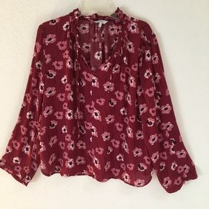 Lucky Brand longsleeve cold shoulder floral blouse
